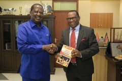 Mountain Top Publishers MD with Rt. Hon Raila Odinga at his offices.